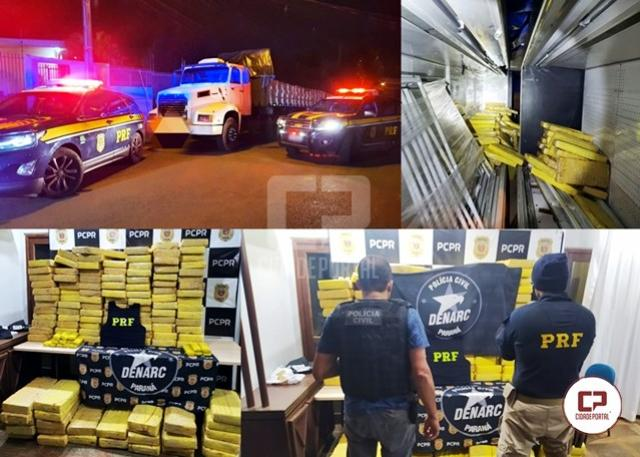 Polícia Rodoviária Federal e Denarc de Cascavel realizam apreensão de 1 tonelada de maconha