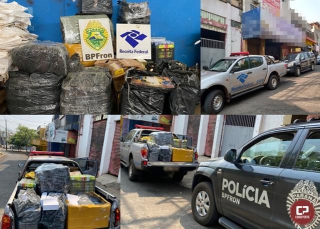 BPFRON e Receita Federal do Brasil apreendem vários volumes de contrabando em Hotel de Foz do Iguaçu