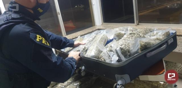 PRF prende uma mulher e apreende 16 kg de skunk em Santa Terezinha de Itaipu