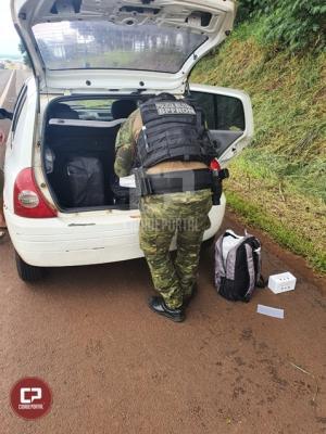 BPFron apreende produtos estrangeiros em veículo durante Operação Hórus em Medianeira