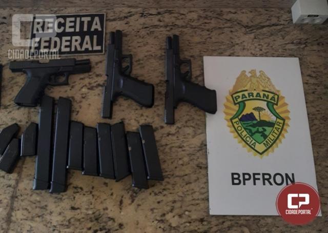 Policiais Militares do BPFRON realizam apreensão de Armas de fogo na cidade de Céu Azul