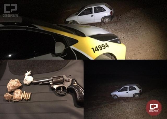 PRE de Cascavel realiza apreensão de uma arma de fogo e entorpecente