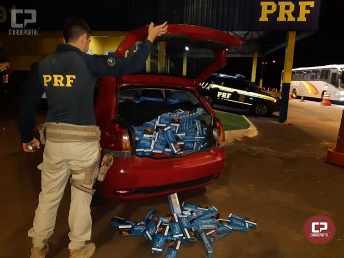 PRF apreende veículo carregado com cigarros contrabandeados em Céu Azul