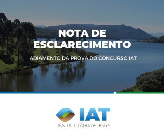 IAT informa que não há previsão de uma nova data para realização das provas de concurso do órgão