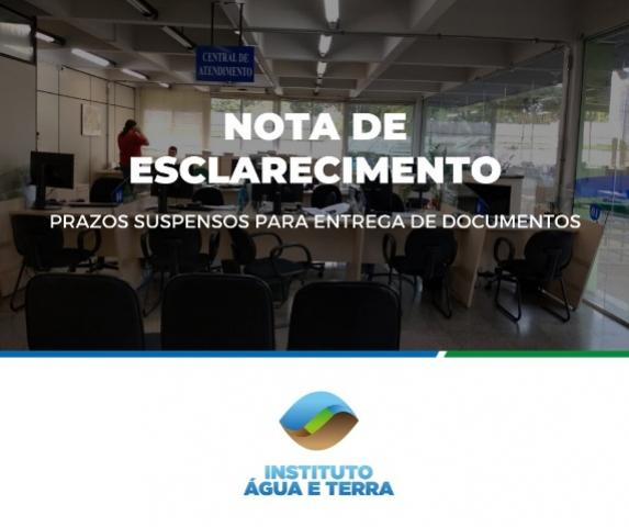Instituto Água e Terra: prazos para entrega de documentos são suspensos