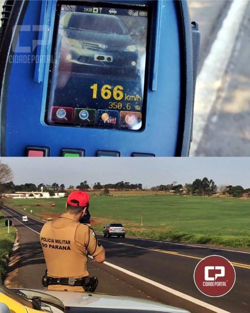 Motorista é flagrado a 166 km/por hora na PR-323 em Umuarama