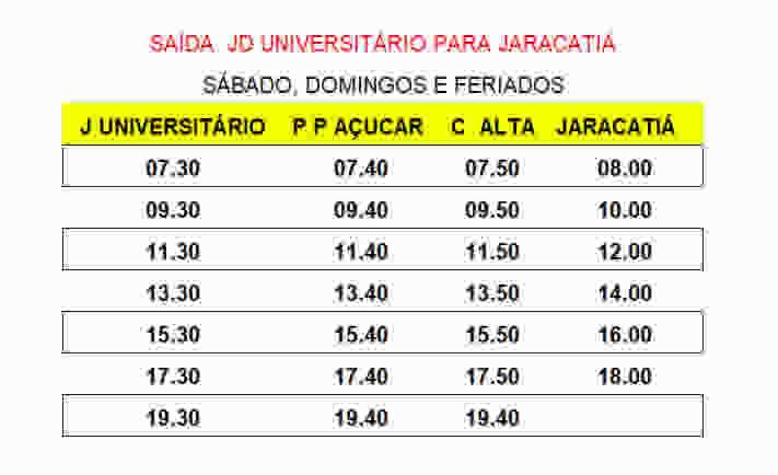 Expresso Mourãoense - Transporte Municipal - Jardim Universitário para Jaracatiá - Sábados, Domingos e Feriados