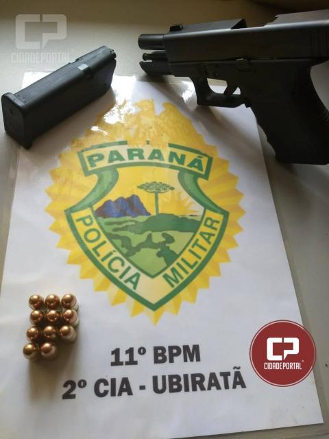 Uma pessoa foi presa por posse ilegal de arma de fogo pela Polícia Militar de Ubiratã