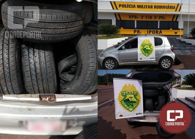 Posto Policial Rodoviário de Iporã apreende veículo com pneus contrabandeados