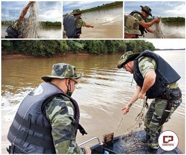 Polícia Ambiental de Umuarama apreende material de pesca proibido  no Rio Ivaí