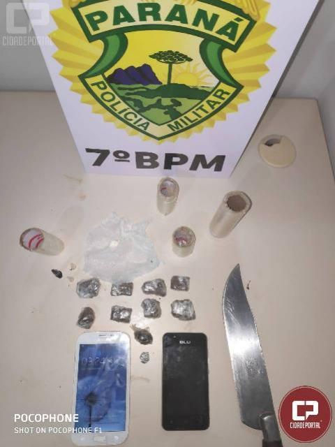 Polícia Militar de Goioerê prende duas pessoas acusadas de tráfico de entorpecentes e corrupção de menores