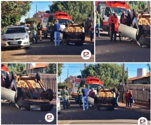 Acidente na Carlos Gomes deixa uma pessoa com ferimentos na área central de Goioerê