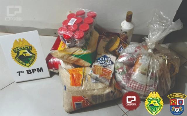 Polícia Militar age rápido, detém autor de crime e recupera mercadorias furtadas de supermercado em Goioerê
