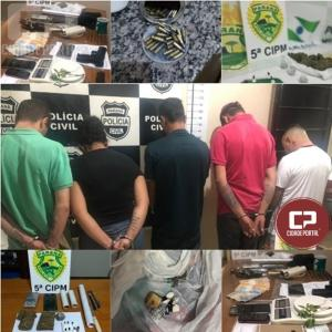 Ação conjunta da Polícia resulta na prisão de cinco pessoas e apreensão de Drogas e armas