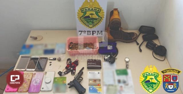 Policiais Militares prendem suspeitos de roubo e recuperam objetos roubados em Goioerê