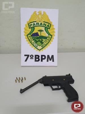 7º BPM apreende arma de fogo e drogas durante o final de semana