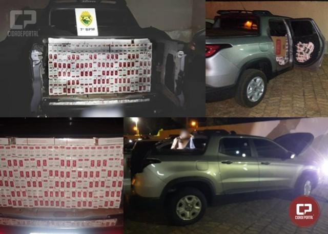 PM recupera veículo furtado e apreende diversas caixas de cigarros contrabandeados em Quarto Centenário