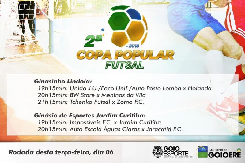 20 Equipes confirmam presença na 2ª Copa Popular Futsal, primeira rodada acontece nesta terça