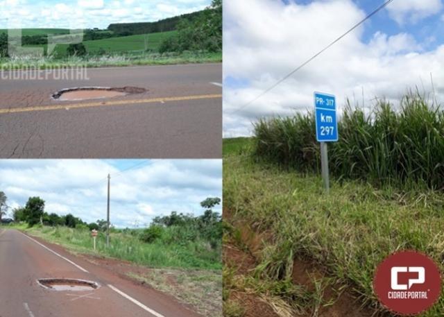 Rodovia PR-317 entre Quarto Centenário e Formosa do Oeste deixa usuários preocupados