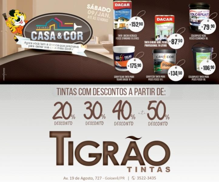 Feirão Casa & Cor é na Tigrão Tintas de Goioerê com descontos de até 50% somente neste sábado, 09