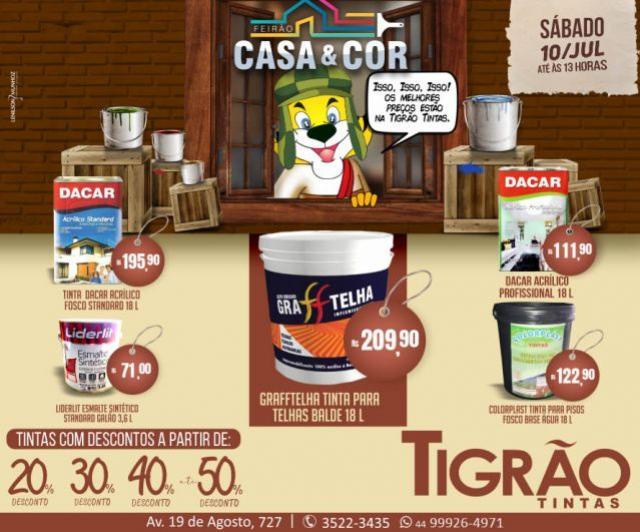 Feirão Casa & Cor é na Tigrão Tintas de Goioerê com descontos de até 50% somente neste sábado, 10