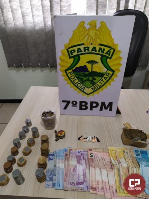 7º BPM encaminha quatro pessoas e apreende drogas e munição em Tapejara