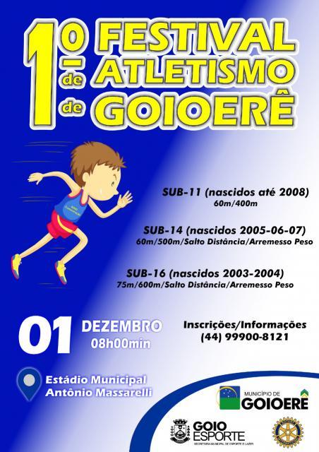 1° Festival de Atletismo de Goioerê acontecerá em dezembro