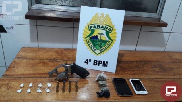 Duas pessoas foram presas por posse ilegal de arma e tráfico de drogas em Mandaguari