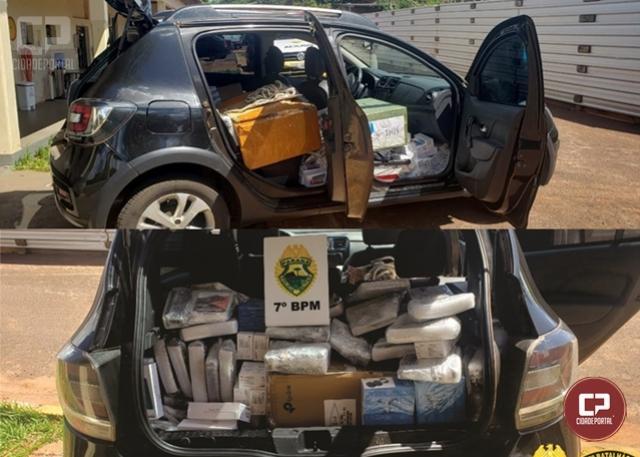 Polícia Militar apreende veículo carregado com eletrônicos sem documentação fiscal em Cruzeiro do Oeste