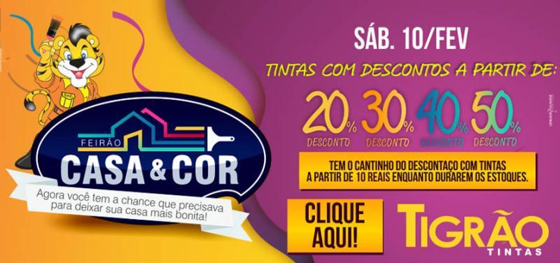 Neste sábado, 10,  Feirão Casa e Cor na Tigrão Tintas com descontos de até 50% aproveite