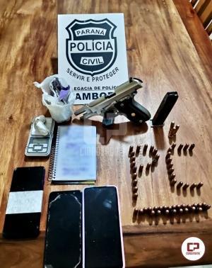 Polícia Civil de Mamborê prende casal e apreende arma e cocaína