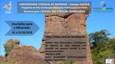 UEM de Goioerê informa que estão abertas as inscrições para Mestrado em Ciências Ambientais