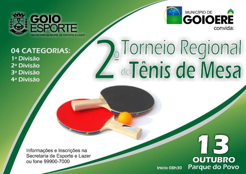 Neste sábado, 13 vai ser realizado em Goioerê o 2º Torneio Regional de Tênis de Mesa