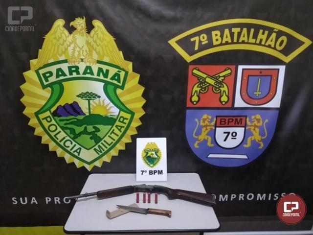 Polícia Militar apreende arma de fogo e prende homem de 65 anos após agredir esposa em Cruzeiro do Oeste