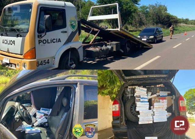Polícia Militar apreende veículo carregado com cigarros contrabandeados em Tapejara
