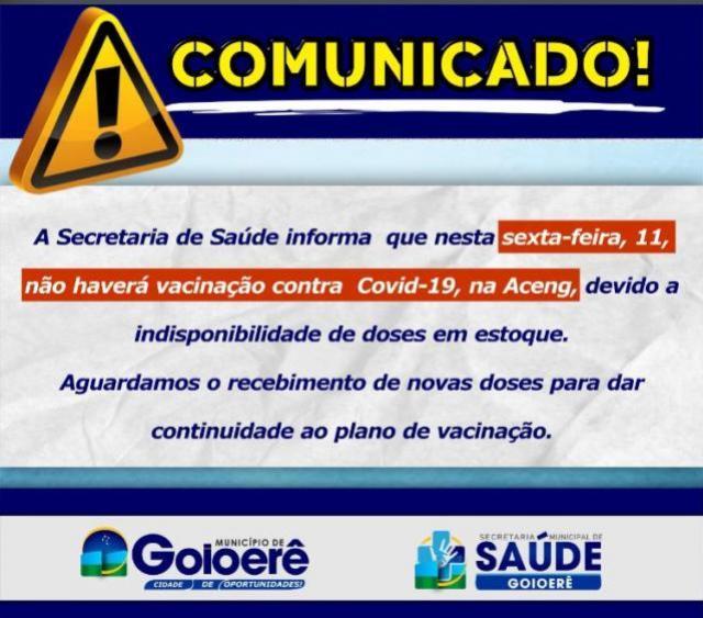 Goioerê não terá vacinação contra o Covid-19 nesta sexta-feira, 11