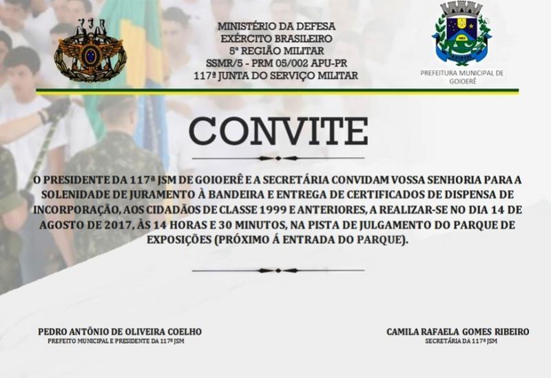 Entrega do Certificado de Dispensa de Incorporação - CDI será no Parque de Exposições com a presença da Infantaria Motorizada
