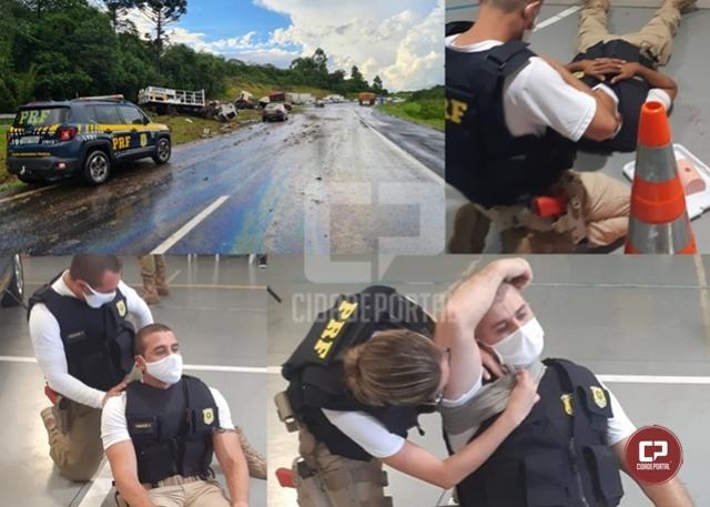 PRF recém formado salva vida de motorista durante atendimento de acidente em Ponta Grossa