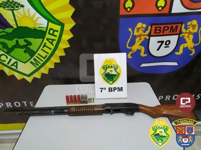 Policiais Militares do 7º BPM apreendem arma de fogo em Cruzeiro do Oeste