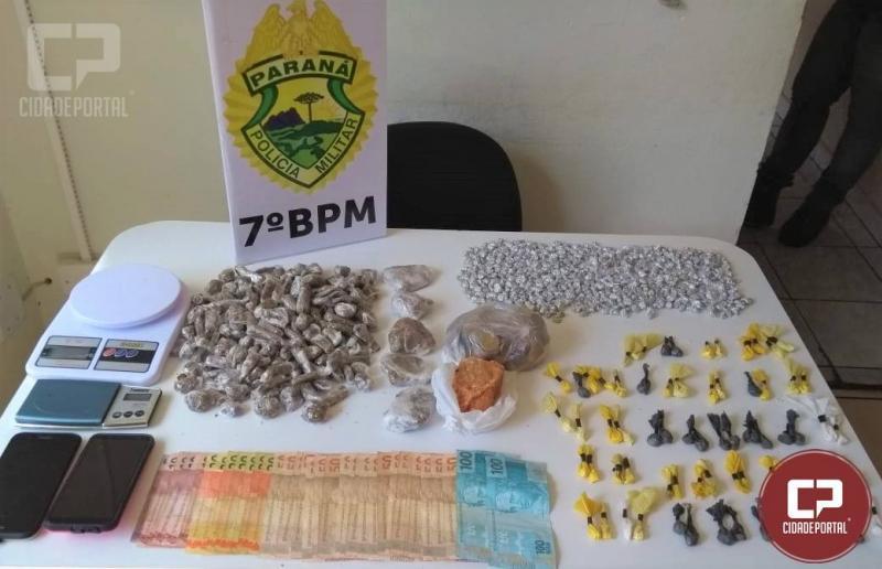 Duas pessoas foram presas por tráfico de drogas pela Polícia Militar do 7º BPM em Tuneiras do Oeste