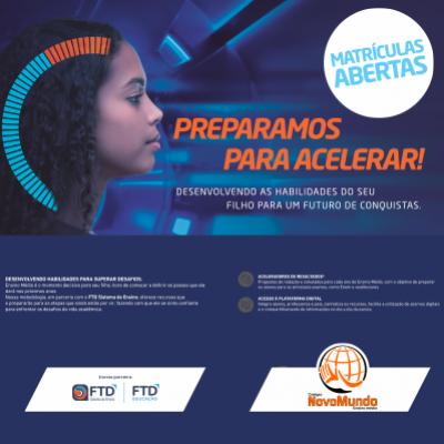 Colégio Novo Mundo de Ensino Médio abre as matrículas a partir do dia 12 de Novembro