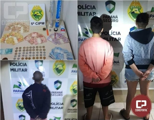 Polícia militar de Cianorte prende duas mulheres por tráfico de drogas e um homem por força de mandado de prisão