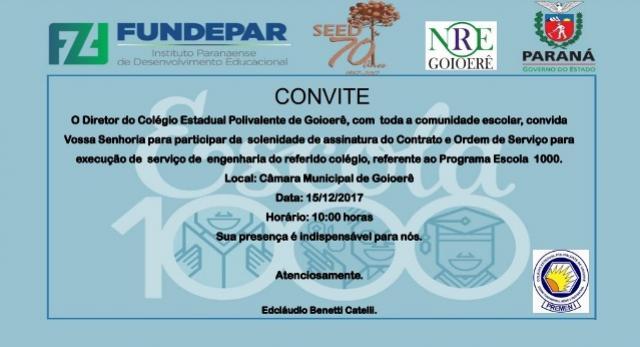 Assinatura do Contrato e Ordem de Serviço referente ao Programa Escola 1000 será dia 15, participe