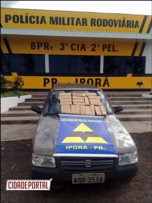 Policiais Rodoviários do Posto de Iporã apreende 14 kg de maconha em veículo de passeio em Cafezal do Sul