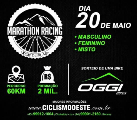 Evento de ciclismo Marathon Racing acontece no domingo em Goioerê