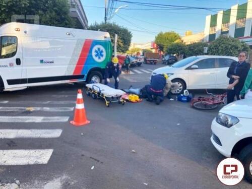 Ciclista tem ferimentos em acidente no cruzamento da 19 de Agosto com Francisco Scarpari