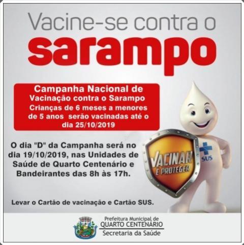 Secretaria de Saúde de Quarto Centenário faz Campanha de Vacinação contra o Sarampo
