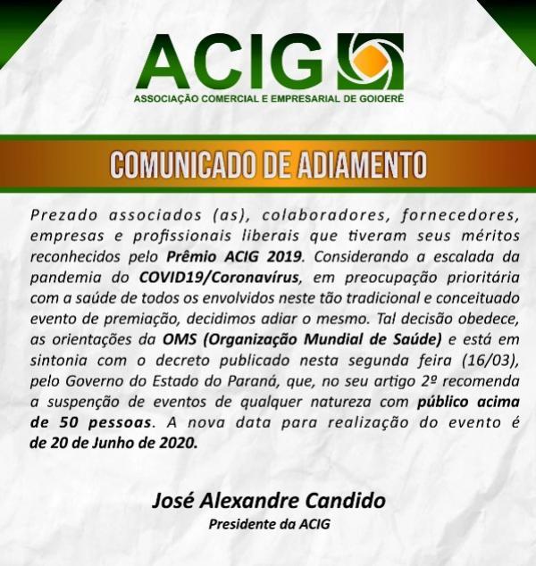 CORONAVÍRUS: Associação Comercial adia prêmio ACIG 2019 para 20 de junho