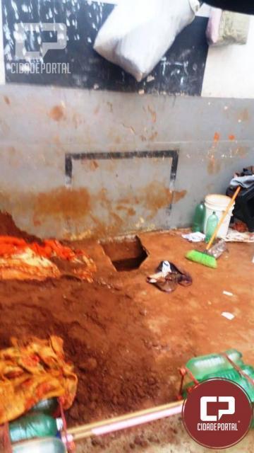 Túnel foi encontrado no pátio da Cadeia Pública de Goioerê nesta manhã de sábado, 17