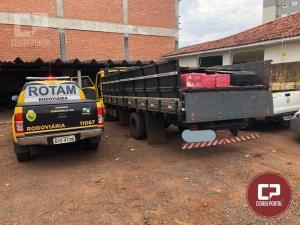 Rotam da 3ª Cia do BPRv apreende caminhão carregado com contrabando de Pneus e Caixas de Whisk
